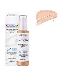 Enough Collagen Whitening Foundation 3 in 1 - Тональная основа с колагеном 21 тон 100 мл