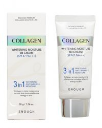 Enough Collagen 3 in 1 Whitening Moisture BB Cream - Многофункциональный осветляющий ВВ крем с морским коллагеном 50 мл