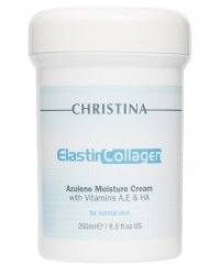 Christina Elastin Collagen Azulene Moisture Cream with Vit A, E & HA - Увлажняющий азуленовый крем с коллагеном и эластином для нормальной кожи 250 мл