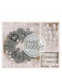 Invisibobble Sparks Flying Trio - Подарочный набор, цвет серый с блестками/белый перламутр