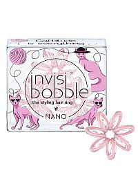 Invisibobble NANO Cattitude Is Everything! - Резинка-браслет для волос, цвет пудровый 3 шт