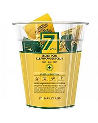 May Island 7 Days Secret Pore Clear Powder Scrub - Кислотный очищающий скраб для лица 12 шт * 5 г
