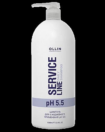 Ollin Service Line Daily Shampoo Ph 5.5 - Шампунь для ежедневного применения рН 5.5 1000 мл - hairs-russia.ru